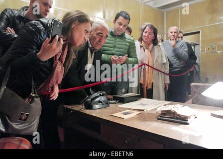 Tirana. 29th Nov, 2014. People visit the anti-nuclear bunker built by former Albanian leader Enver Hoxha, east of - Stock Photo