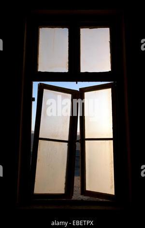 Windows in Kolmanskop Ghost Town - Luderitz, Namibia, Africa - Stock Photo