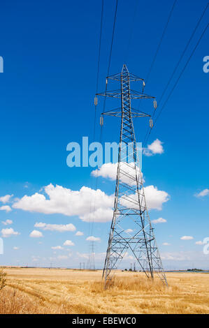 High-voltage power line in Thessaly, Greece - Stock Photo