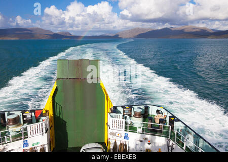 View from rear of Caledonian MacBrayne ferry Hebrides, looking towards the Isle of Harris, Outer Hebrides, Scotland. - Stock Photo