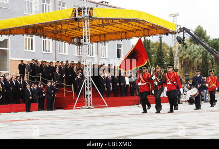 Tirana, Albania. 29th Nov, 2014. People participate in a parade, marking 70th anniversary of the liberation of Albania - Stock Photo