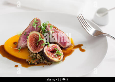 Duck and fig entree in high end resturant - Stock Photo