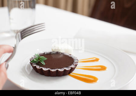 chocolate torte in restaurant - Stock Photo