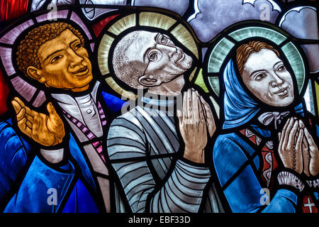 Orlando Florida Mary Queen of the Universe Shrine Catholic Basilica Christian religion church stained glass window - Stock Photo