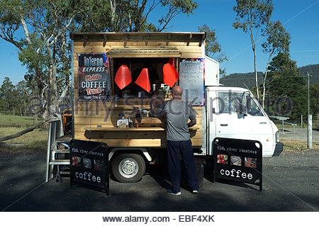 Mobile coffee truck - the 'Inferno Express', in a lay-by on the Great Western Highway, near Lithgow, NSW, Australia. - Stock Photo