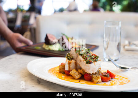 Server placing entrees on a table in an upscale restaurant - Stock Photo