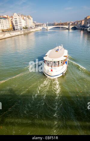 Touristic boat in the Saone river in Lyon, Rhône, Rhône-Alpes, France - Stock Photo