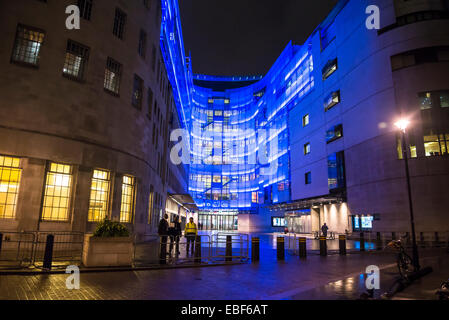 BBC Broadcasting House and new eastern extension, Portland Place, London, England, UK - Stock Photo