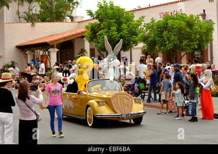 GOLD COAST, AUS -  NOV 06 2014:Bugs Bunny and animated cartoon characters in Movie World Gold Coast Queensland Australia.The - Stock Photo