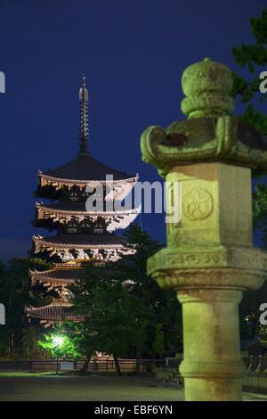 Pagoda at Kofuku-ji Temple (UNESCO World Heritage Site) at dusk, Nara, Kansai, Japan - Stock Photo