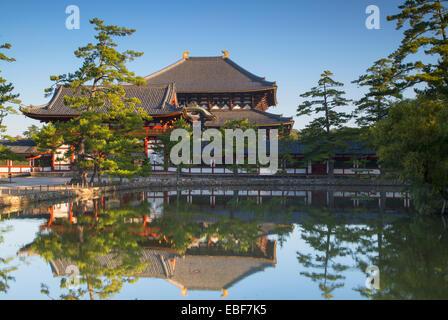 Todaiji Temple (UNESCO World Heritage Site) at dawn, Nara, Kansai, Japan - Stock Photo