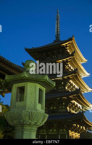 Pagoda at Kofukuji Temple (UNESCO World Heritage Site) at dusk, Nara, Kansai, Japan - Stock Photo