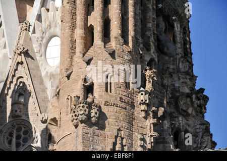 La Sagrada Familia, Roman Catholic basilica under construction in Barcelona, Catalonia, Spain. designed by Antoni - Stock Photo