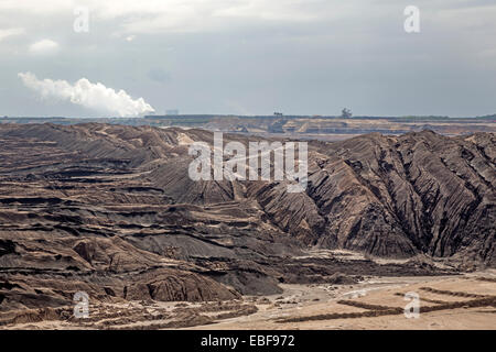 Opencast brown coal mining, Welzow Süd, Brandenburg, Germany, Europe - Stock Photo