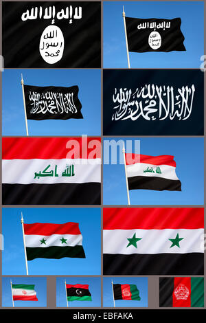 Conflict in the Middle East - Flags of Al-Qaeda and Islamic State (ISIS or ISIL) - Stock Photo