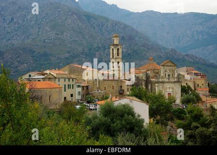 Small Corsica village, in the Balagne region - Stock Photo