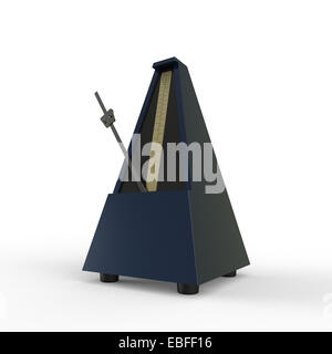 dark blue pyramid shaped wooden metronome on a white background used for music practice to keep the rhythm - Stock Photo