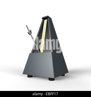 grey pyramid shaped wooden metronome on a white background used for music practice to keep the rhythm - Stock Photo