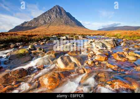 Buachaille Etive Mor from the River Coupall in Glen Coe, Scotland - Stock Photo