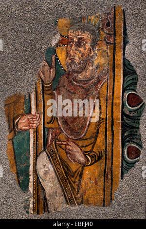 Christ of the Crown of Thorns from Sant Esteve d'Andorra 1200 Master of Saint Esteve d'Andorra. Fresco  Spain Spanish - Stock Photo
