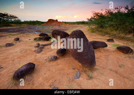 Volcanic boulders and eroded soil in Sarigua national park (desert), Herrera province, Republic of Panama.