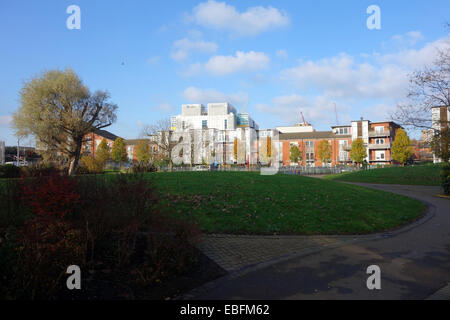 North Norland open space surrounded by apartments - Stock Photo