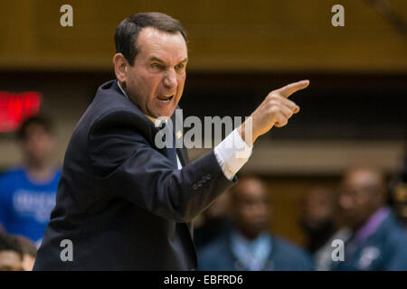 Durham, NC, USA. 30th Nov, 2014. Duke Head Coach Mike Krzyzewski during the NCAA Basketball game between Army and - Stock Photo