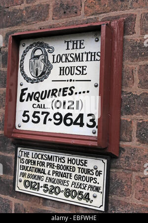 Sign from Willenhall Lock Museum, Walsall West Midlands, England, United Kingdom - Stock Photo