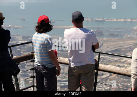 Tourists looking down on Cape Town from Table Mountain