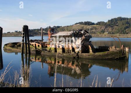 The steam powered  on the  Rogue River at Gold Beach in Oregon - Stock Photo