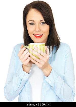 Attractive Twenty Something Young Woman Drinking Coffee - Stock Photo