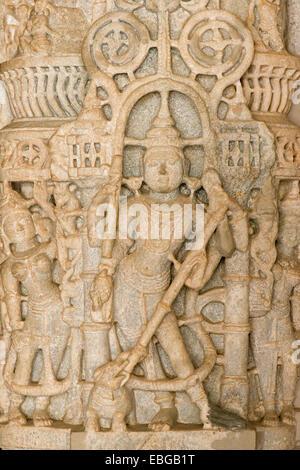 Detail, pillar, marble temple, temple of Jain religion, Adinatha Temple, Ranakpur, Rajasthan, India - Stock Photo