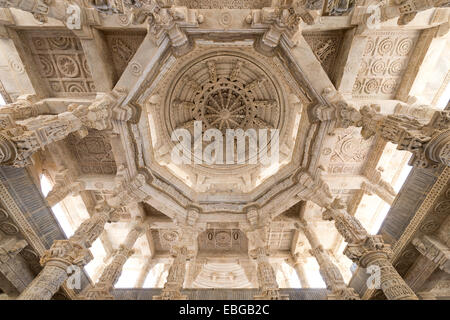Interior hall with ornate pillars and ceilings, marble temple, Adinatha Temple, temple of the Jain religion, Ranakpur, - Stock Photo