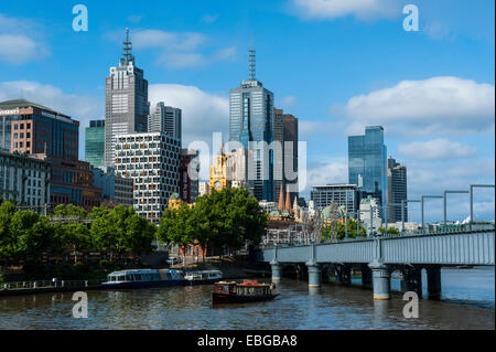 High rise buildings on the Yarra river, Melbourne, Victoria - Stock Photo