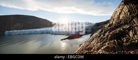Grey Glacier, glacier front at the Grey Lake, Torres del Paine National Park, Chile - Stock Photo