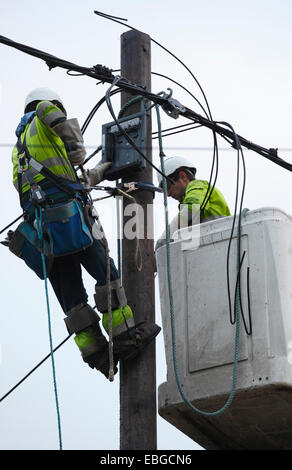 Two power supply workers replacing electric cables. - Stock Photo