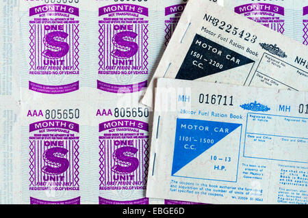Motor Fuel Ration Books. - Stock Photo