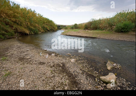 The river Jordan in october about one kilometer before it flows in the sea of Galilee - Stock Photo
