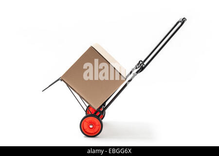 Hand truck - cart with carton box isolated on white. - Stock Photo
