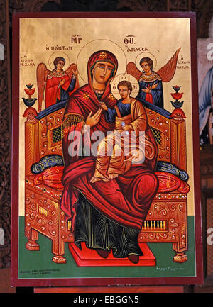 A beautiful Icon in the naive of the abandoned Monastery of Panagia tou Sinti in the Xeros Vally Cyprus - Stock Photo