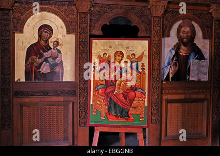 A beautiful Icons in the naive of the abandoned Monastery of Panagia tou Sinti in the Xeros Vally Cyprus - Stock Photo