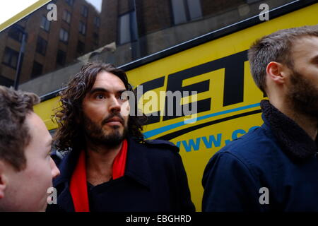 London, UK. 01st Dec, 2014. Comedian Russell Brand joins a housing protest in Berkeley Square, London. New Era Estate - Stock Photo