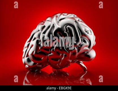 Metallic human brain rendered over red background - Stock Photo