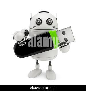Robot holding usb flash drive. Isolated on white - Stock Photo