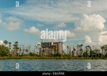 Development along the beach  just outside Gulf State Park in Gulf Shores, Alabama,USA. - Stock Photo