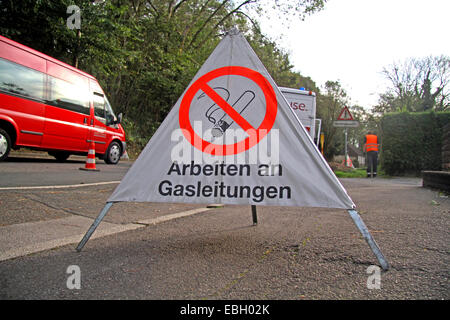 no smoking sign at workings on gas pipeline, Germany - Stock Photo