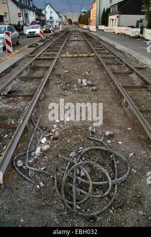 work on the tram tracks, Germany - Stock Photo