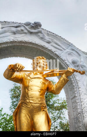 Johann Strauss statue at Stadtpark in Vienna, Austria - Stock Photo