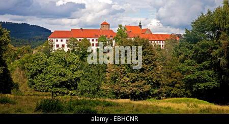 castle and cloister Iburg, Germany, North Rhine-Westphalia, Muensterland, Bad Iburg - Stock Photo