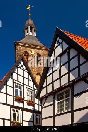 timbered houses and church in the old town, Germany, North Rhine-Westphalia, Tecklenburger Land, Tecklenburg - Stock Photo